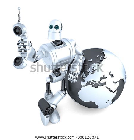 Robot with tablet phone tube and earth globe. Global communication concept. Isolated over white. Contains clipping path - stock photo