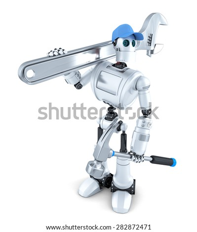 Robot with tools. Isolated on white. Contains clipping path - stock photo
