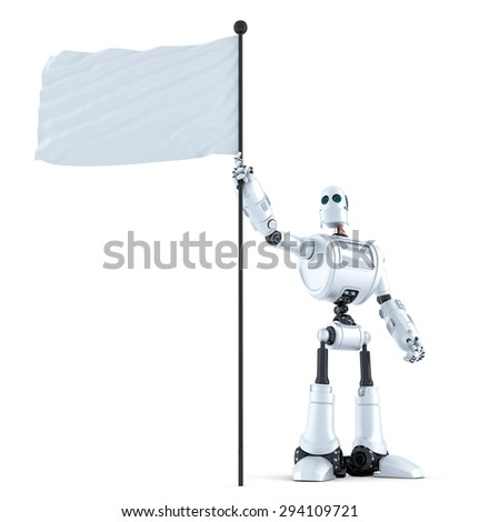 Robot with waving blank flag. Isolated over white. Contains clipping path - stock photo