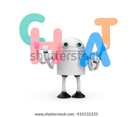 Robot with word CHAT. 3d illustration - stock photo