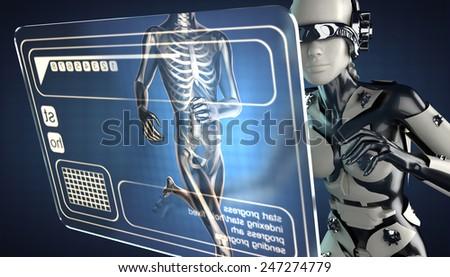 robot woman and hologram display - stock photo