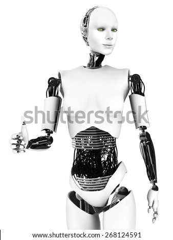 Robot woman doing a thumbs up. A smiling female robot doing a thumbs up with her hand. White background.