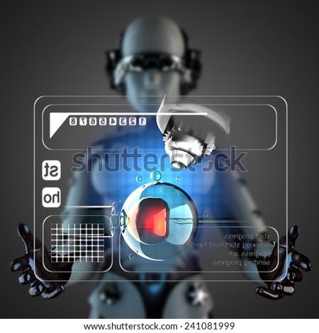 robot woman manipulatihg hologram display - stock photo