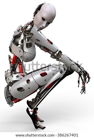 robot woman thinking - stock photo