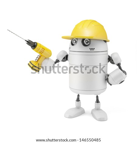 Robot worker. Isolated on white - stock photo