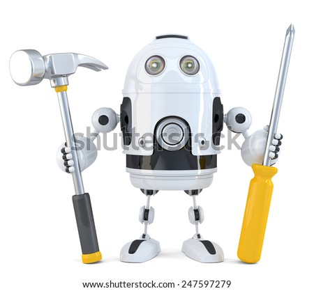 Robot worker. Technology concept. Isolated on white. Contains clipping path - stock photo