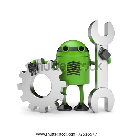 Robot worker with gear - stock photo