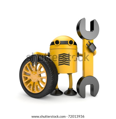 Robot worker with spanner - stock photo