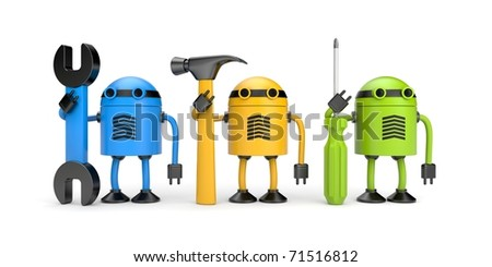 Robot workers. New technology metaphor - stock photo