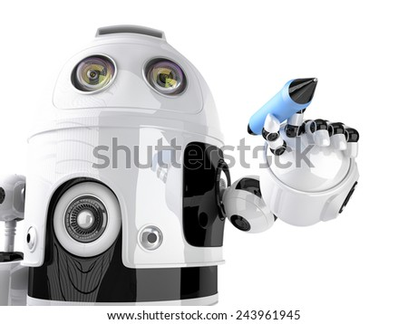 Robot writing on invisible screen. Isolated on white. Contains clipping path