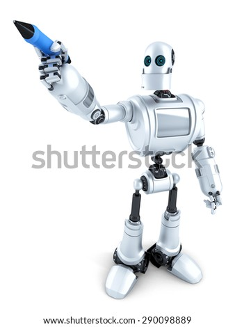 Robot writing on invisible screen. Isolated on white. Contains clipping path - stock photo