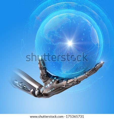 Robotic android hand holding blue electronic shining earth globe as futuristic sci-fi design concept - stock photo