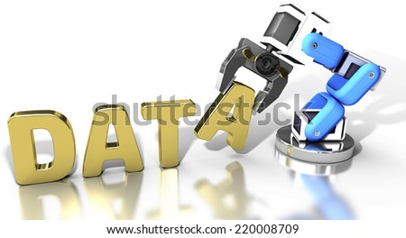 Robotic arm automatic data storage and data center database technology - stock photo