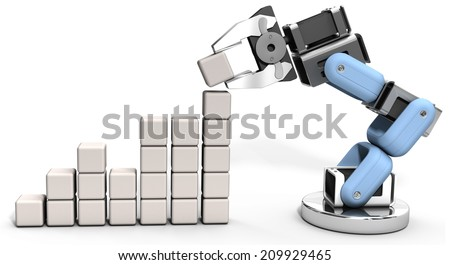 Robotic arm building technology business growth data chart - stock photo