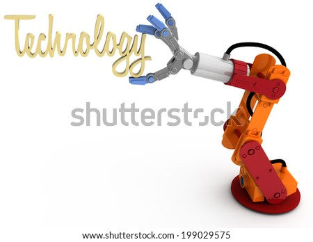 Robotic arm holding word Technology as blog article subject title above copy-space