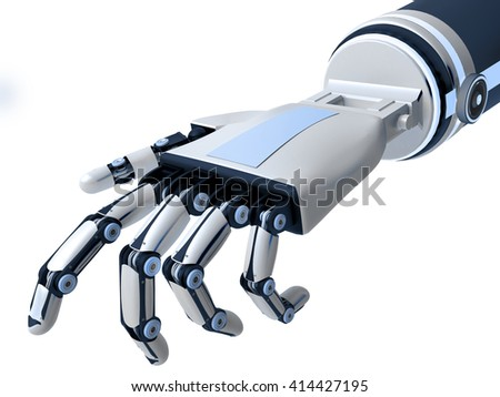 Robotic arm isolated on white background. Artificial Intelligence. 3D rendering. - stock photo