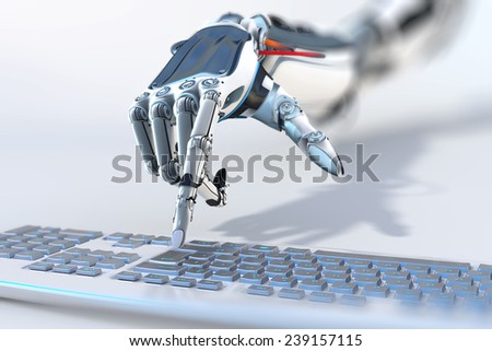 robotic arm working with computer keyboard closeup image - stock photo