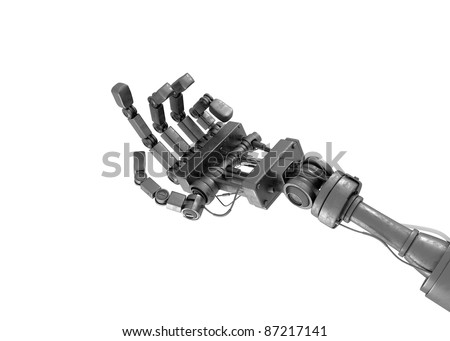 Robotic begging hand isolated on white - stock photo