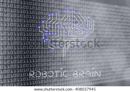 robotic brain made of microchip ciircuits with led lights