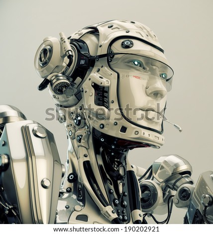Robotic character with medic aim / Futuristic medical worker - stock photo