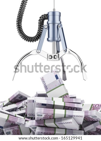 Robotic claw with euro - stock photo