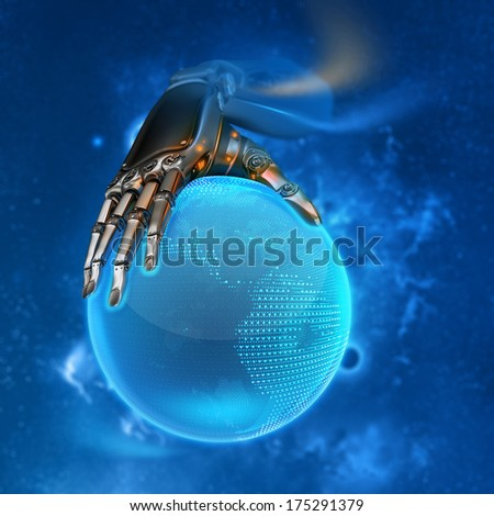 Robotic electric android hand holding blue shining earth globe as futuristic sci-fi design concept - stock photo