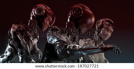 Robotic girls - stock photo