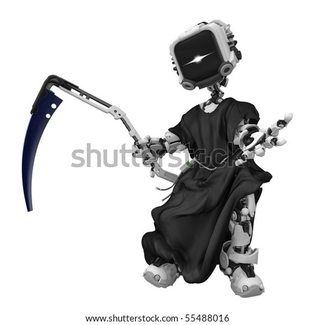 Robotic grim reaper 3d, over white, isolated - stock photo