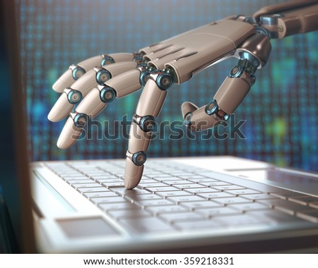 Robotic hand, accessing on laptop, the virtual world of information. Concept of artificial intelligence and replacement of humans by machines. - stock photo