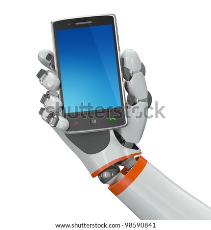 Robotic hand holding a mobile phone with blank screen. Contains vector paths for screen and hand. - stock photo