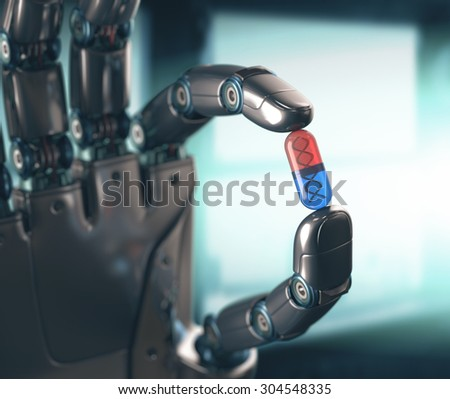 Robotic hand holding a pill of DNA. Concept of the technology, dominated by machines. - stock photo