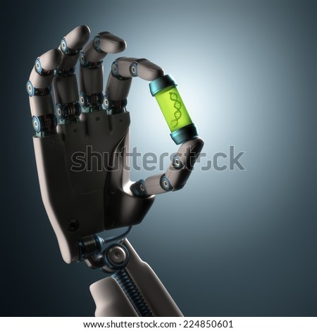 Robotic hand holding a test tube with a dna inside. Technology concept manipulating organic life. Clipping path included.