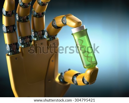 Robotic hand holding a test tube with a sample DNA inside. Concept of the technology. - stock photo