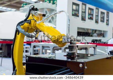 robotic hand machine tool at industrial manufacture facto - stock photo