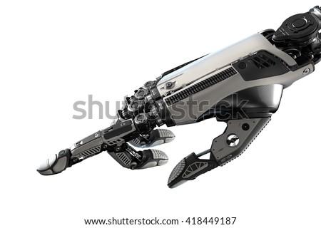 Robotic Hand Touching Virtual User Interface Stock Illustration ...