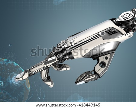 Robotic hand touching virtual user interface with point index finger. Image futuristic template on digital background for business website design.3d rendered image. - stock photo