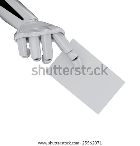 Robotic hand with Blank Business Card, add your text. Including clipping path. - stock photo