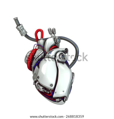 robotic heart illustration - stock photo