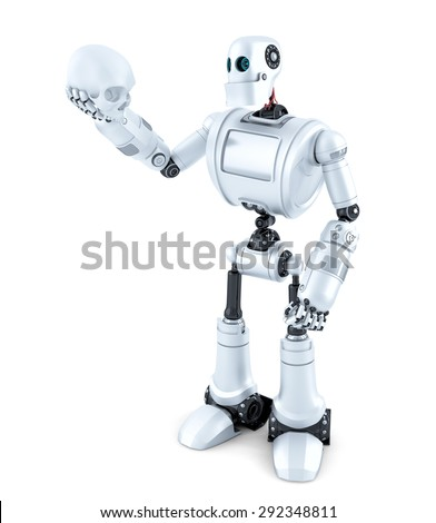 Robotic holding a human skull. Isolated over white. Contains clipping path - stock photo