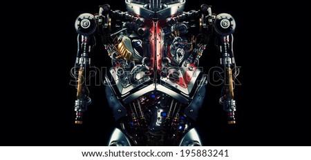 Robotic humanoid torso/ Artificial futuristic human organs. 3d model render - stock photo