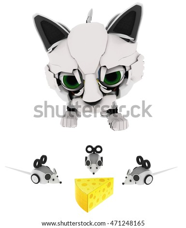 Robotic kitten with mice and cheese 3d illustration, horizontal, isolated