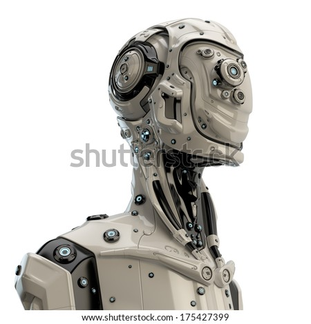 Robotic man / Unusual cyborg in profile on white - stock photo