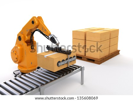 Robotic Palletizing and Packaging concept - stock photo