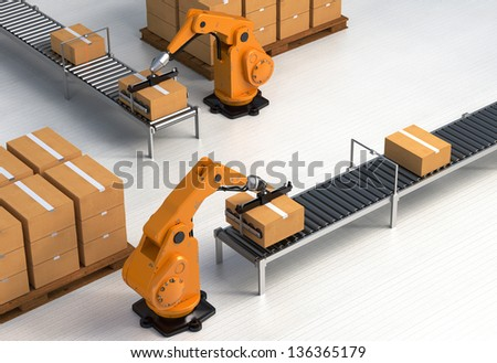 Robotic Palletizing and Packaging concept II - stock photo