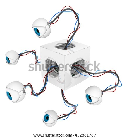 Robotic round eyeballs white box hidden 3d illustration, horizontal, over white, isolated