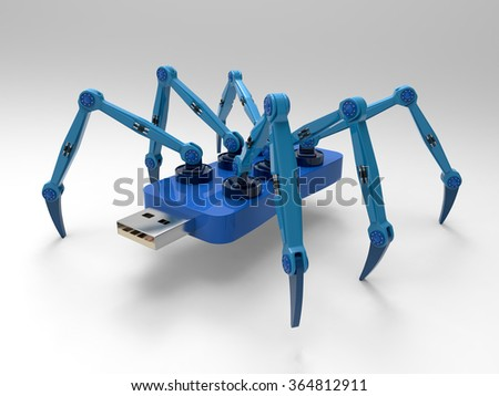 Robotic Spider flash pen stick, isolated on white background. 3D Render graphic - stock photo