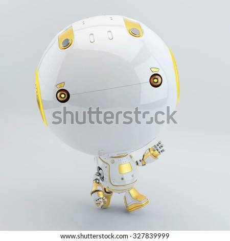 Robotic toddler walking and greeting - stock photo