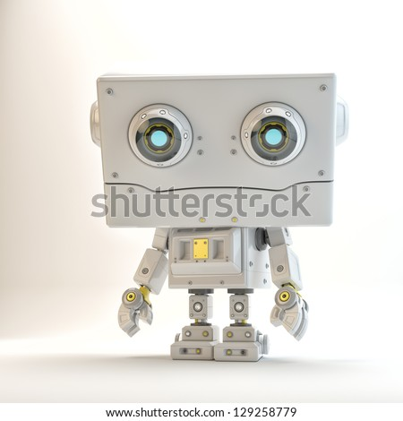 Robotic toy with big squared head isolated / cute toy - stock photo