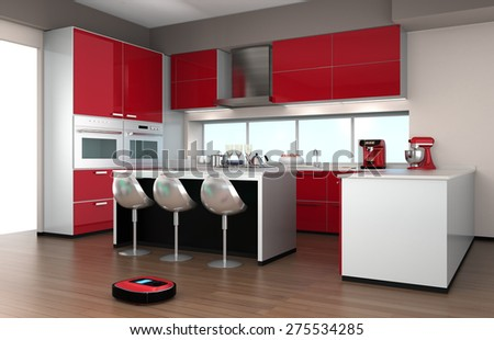 Robotic vacuum cleaner in a modern kitchen interior. 3D rendering image. - stock photo