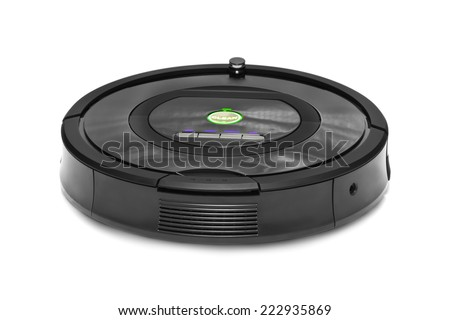 Robotic vacuum cleaner isolated on white background - stock photo